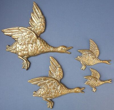 Vintage Retro Set 4 Cast Brass Flying Mallard Duck Wall Plaques 1950s Kitsch