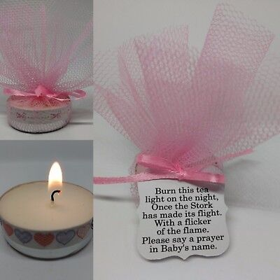 Pink Baby Shower Candle Tea Light Favours Guest Thank You Gifts