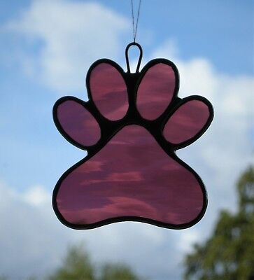 Stained Glass Window Ornament (Paw Print) in medium rose rippling water glass