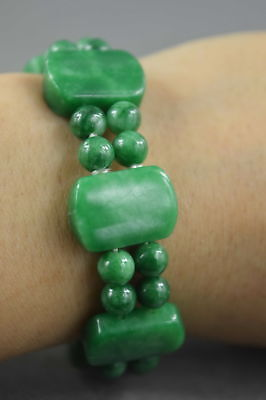 Collectable Decor Handmade Jade Carve Natural texture Glossy Auspicious Bracelet
