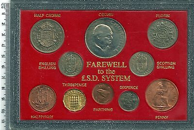 CHURCHILL FAREWELL £SD 10 COIN SET CROWN FLORIN FARTHING SIXPENCE THREEPENCE 2o7