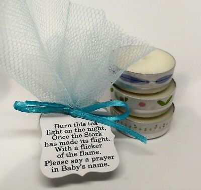 BABY Shower  Candle Favours  TEA LIGHT FAVOURS Blue THANK YOU GIFTS FOR Guests