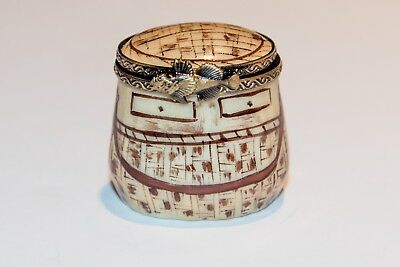 French Limoges Fishing Creel Box with Fish clasp