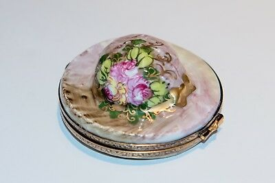French Limoges Hand Painted Porcelain Hat Box