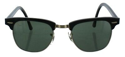 VINTAGE 80s RAY BAN USA CLUBMASTER BLACK GOLD BAUSCH&LOMB SUNGLASSES W0365