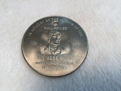 Dr. Jose Rizal Martyr Of The Philippines 1861-1961 Hawaii Centennial Coin
