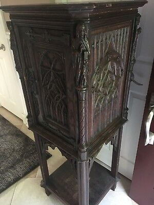Antique Sacristy Gothic Monk Scholar Liquor Bible Church Cabinet Vestment