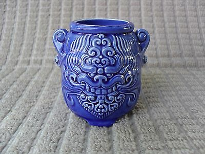 Vintage Small Blue Glazed Art Ceramic Vase With Chinese Foo Dogs~2 1/2 In.