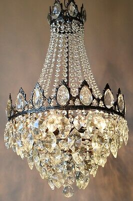 Chic Pendant Antique French Vintage Crystal Chandelier Lamp Art Nouveau Lighting