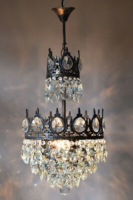 Empire Antique French Vintage Crystal Chandelier Lamp 1950's Ceiling Lighting