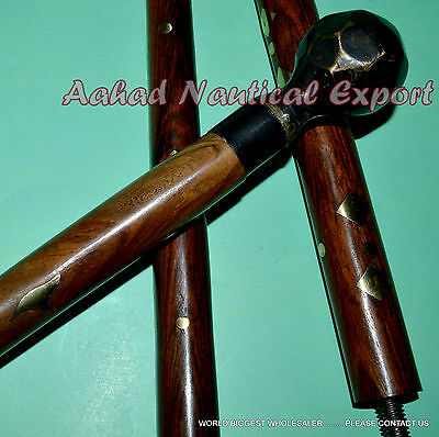 Walking Stick Cane Solid Brass Handmade Handle Antique Vintage Style Gift