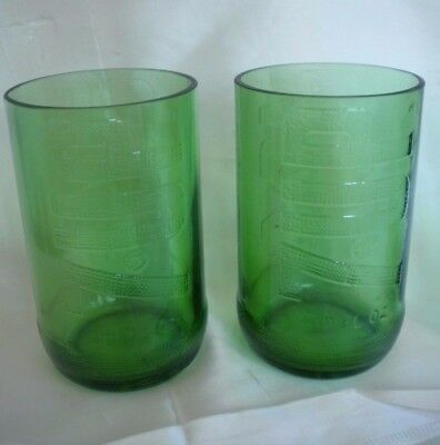 Lot 2 Vintage Embossed Green 7 UP Soft Drink Soda Glass Tumblers