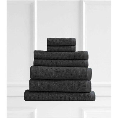 Style & Co Resort Egyptian Cotton 600 GSM 7 Piece Towel Set Charcoal Coconut