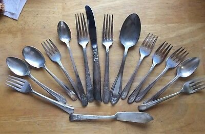 Silver Plate Flatware Mixed Lot 18 Vintage Collectible server spoons forks knife