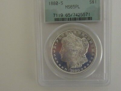 Brilliant Strong Mirrors 1880S Morgan Dollar Pcgs Ms65Pl In Old Green Holder Ogd