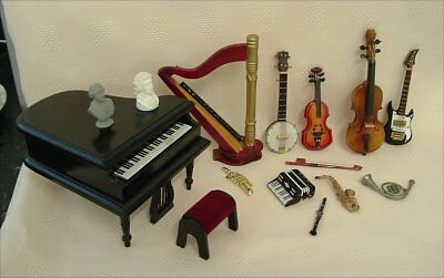 Dolls house 1/12th selections of items for a Music Shop