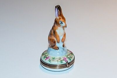 French Limoges Rabbit Box Hand Painted by Chamart