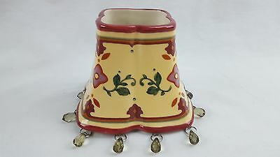 PARTYLITE Shade Lamp Topper for Candle Jar Yellow Burgundy Floral with Beads