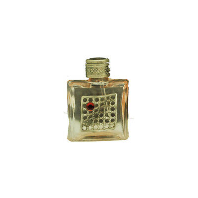 Czech Jeweled Decorative Pink Glass with Red Stone Perfume Oil Bottle Holder
