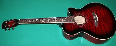 "Chitarra Elettroacustica New Orleans Manico Decorato Red Eq-4B 40"" Custodia"