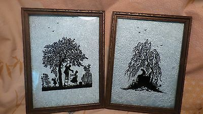 Pair-Framed Victorian Reverse Painted Silhouette Mourning Wall Hangings,Pictures