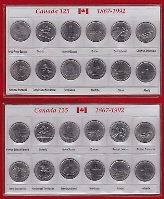 Canada 125 Anniversary Province Set 25 Cents 1867-1992