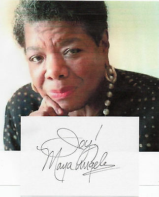 """MAYA ANGELOU - Rare AUTOGRAPH - AMERICAN POET - HAND SIGNED 4x6 CARD with """"JOY!"""""""