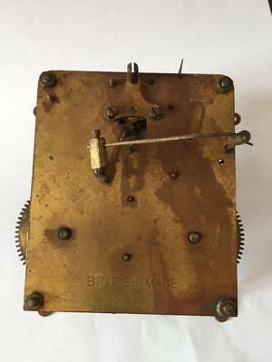 Vintage Brass Clock Movement British Made For Spares Or Repair