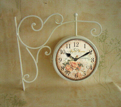 Wall Clock With Bracket Type Station Bifacial Wrought Iron White