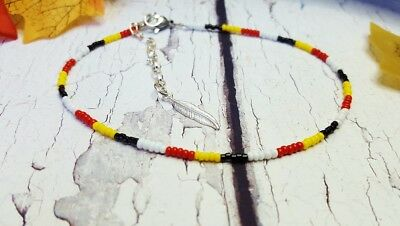 Native American Styled Seed Bead Anklet with Feather Charm