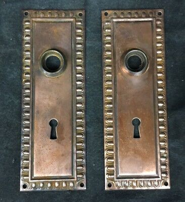 Set Of 2 Matching Vintage Antique Ornate Door Knob Backplate Plate Covers