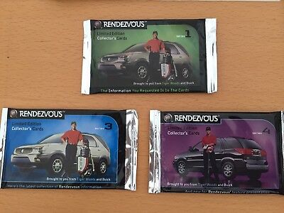 LOT OF 3 2000 Buick Rendezvous Tiger Woods Collector Card Packs Series 1, 3, 4