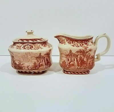 Vintage Cream and Sugar Set,  Red Transferware,  Victorian Countryside Toile