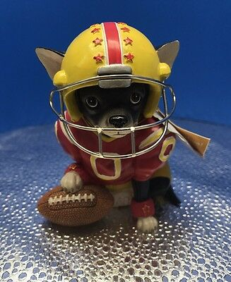 "New Aye Chihuahua ""Quarter Bark"" Resin Football Figurine No.13386 By Westland"