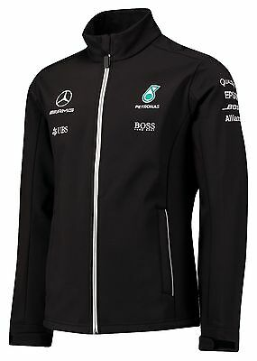 2017 OFFICIAL F1 Mercedes AMG Petronas Team Soft Shell Jacket Coat BLACK – NEW
