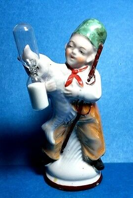 "Vintage ""Porcelain Boy With Large Fish"" Sand Egg Timer  Free Shipping"