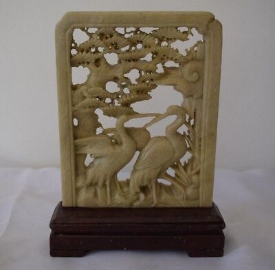 Vintage Antique Chinese Carved Soapstone Bookend Ornament on Plinth Base