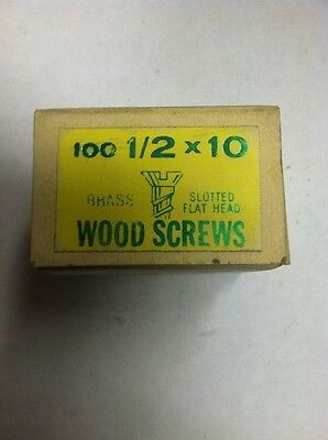Vintage #10 X 1/2 Inch Flat Head BRASS SLOTTED Wood Screws 100 per box