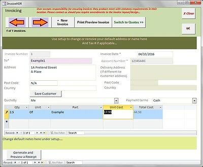 Invoice, Quote (Estimate) & Receipt database software. Create invoices quickly