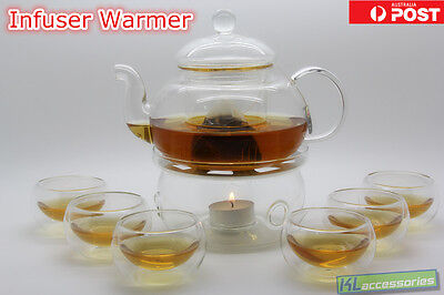 Glass Teapot Tea Set Round-Shaped Infuser Warmer + 6 Double Wall Cups + Candles