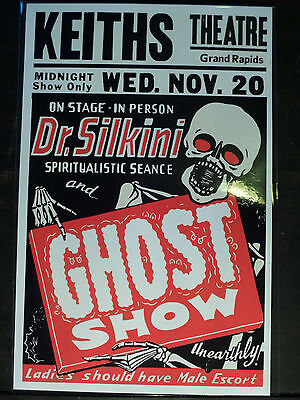 DR. SILKINI SPOOK SHOW EVENT POSTER Sideshow Seance Freak Theater Window Card