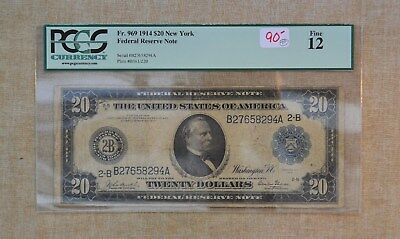 1914 $20 Federal Reserve Note -  New York  - Large Size - Pcgs Graded F-12 - $20