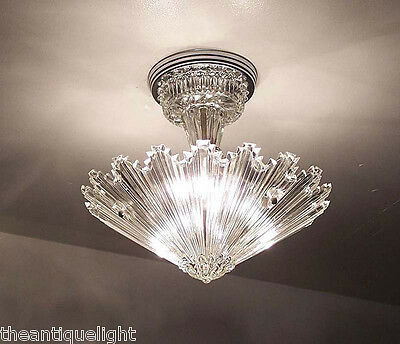 654 Vintage arT Deco Ceiling Light Lamp Fixture Glass Re-Wired 3 Light