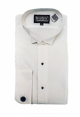 Irregular mens white wing tip french collar tuxedo shirt with studs large 34/35