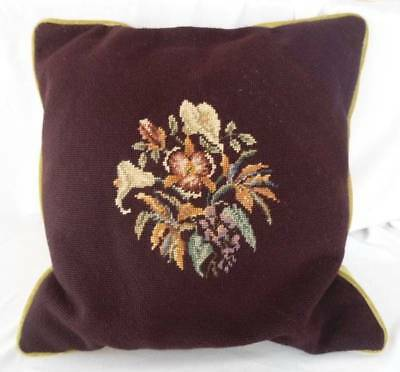 "Vintage 18"" Wool Needlepoint Embroidery Pillow Burgundy Floral Green Velvet Back"
