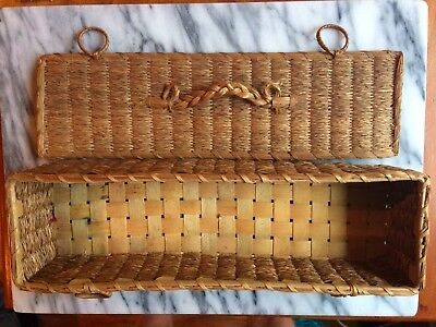 Antique Wicker Sewing Basket New England Farm c1900 Honey Colored Functional
