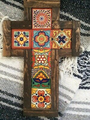 """WaLL CRoSS ReCLaiMEd CaRVeD WooD MeXiCO TaLaVeRa TiLe HaNdMaDe RuSTic PiNe 12"""""""