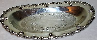 Vintage Old English Reproduction Oval Silverplate Tray with Ornate Grape Design