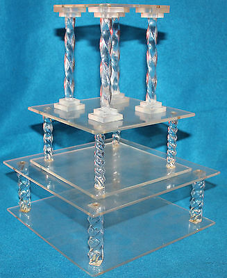 Vintage Acrylic Wedding Cake Tiers / Stands -- Set of 3