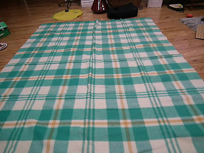 Vintage 50s STRATHDOWN GREEN PLAID WOOL BLANKET DOUBLE CANADA